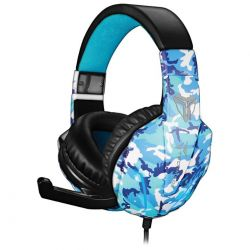 cuffie console techmade gaming tm-fl1-camblu pc/ + micicrofono blu camo