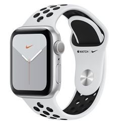 apple watch nike serie 5 gps, 44mm silver aluminium case with pure platinum/black nike sport band ue