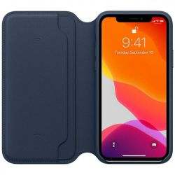 apple iphone 11 pro leather folio - deep sea blue