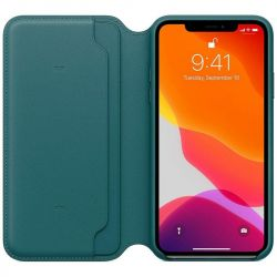 apple iphone 11 pro max leather folio - peacock