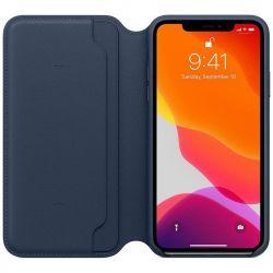 apple iphone 11 pro max leather folio - deep sea blue