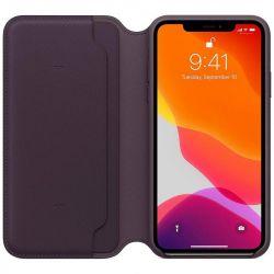 apple iphone 11 pro max leather folio - aubergine