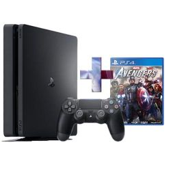 console sony playstation 4 500gb f chassis slim black + ps4 marvel's avengers
