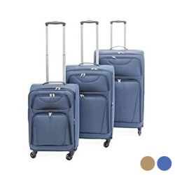 bagaglio a mano set s stoffa 3 pezzi bigbuy home