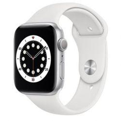 apple watch serie6 gps 44mmsilver aluminium case / white sport band