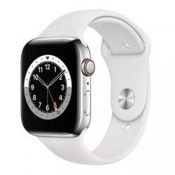 apple watch serie6 gps+cell44mm silver st.steel case/white sport b.