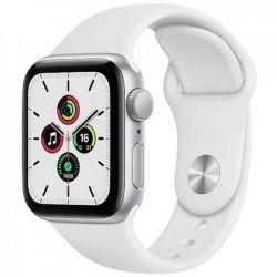 apple watch se gps 44mm silver aluminium case / white sport band