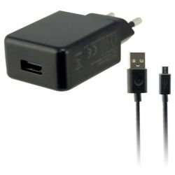 caricabatteria da rete + cavo micro usb usb 2a nero bigbuy tech