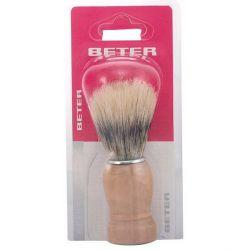 pennello da barba con manico in legno beter