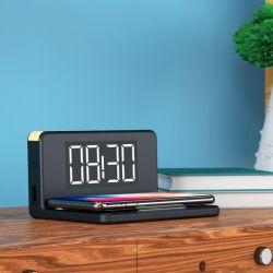 sveglia con caricabatterie senza fili ksix qi nero bigbuy tech