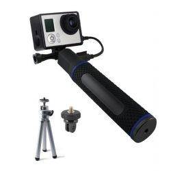 selfie stick con power bank per fotocamera sportiva ksix 5200 mah nero bigbuy sport
