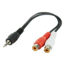 cavo audio jack 3,5 mm con 2 rca gembird cca-406 20 cm nero