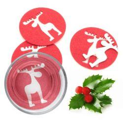 sottobicchieri natalizi renna 4 pz 143754 bigbuy christmas