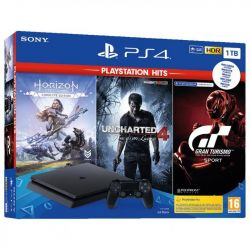 console sony playstation 4 1tb + uncharted 4 + horizon zero dawn complete + gt sport pshits